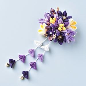 つまみ細工 キット 京ちりめん はなやぎ 髪飾りキット(紫)|shugeiya