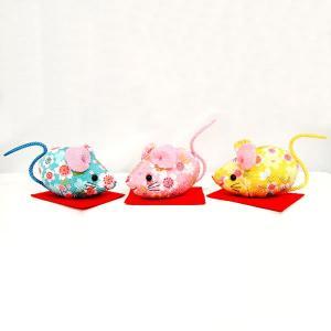 干支 手作り キット 置物 子(ねずみ) ちりめん キット 桜の三福ねずみ|shugeiya