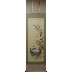 掛軸「つくばいに雀」奥田拓也|shukeido-net