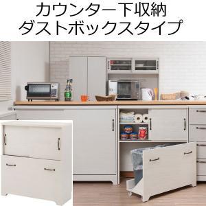 カウンター下収納 ゴミ箱 引き戸 薄型 木製 棚 キッチン収納 食器棚 ダストボックス 幅80cm 奥行30cmの写真