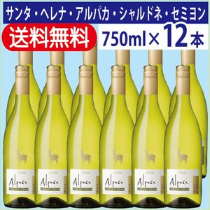 白ワイン 送料無料 サンタ・ヘレナ アルパカ シャルドネ・セミヨン 750ml 1ケース(12本入り...