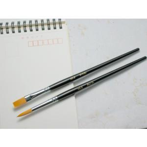 水彩画筆 ナイロン毛 8号 丸/平  【大阪 朱陽堂謹製】