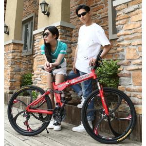 クロスバイク マウンテンバイク ショックアブソーバー付き 折りたたみ自転車 26インチ 4色 6段ギア カギ付き メンズ レディース 通勤 通学 街乗り|si-susyoltupu