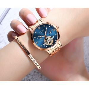 腕時計 レディース 自動巻き レディースウォッチ スケルトン 天然ダイヤ 30m防水 時計 腕時計 ...