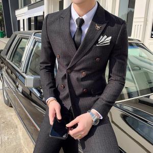 スーツ フォーマルスーツ 礼服 メンズ 2つボタンダブル 3ピース スリム ビジネス 結婚式 冠婚葬...