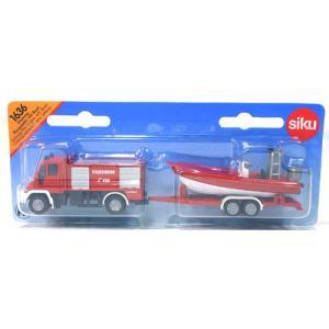 ミニカー 1636 ユニモグ 消防車 消防用ボート付|sieikan