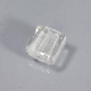 べネチアンガラス スクエア 銀箔入白 12mm 4個