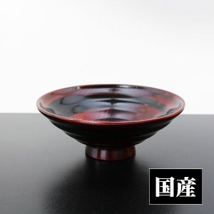 平椀 赤拭漆 黒一筆 (木製 漆器 浅椀 飯椀 漆塗り 国産)|sikkiya