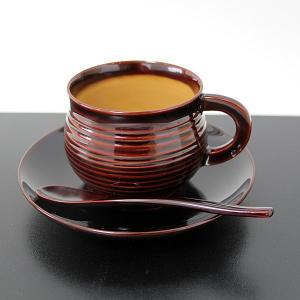 越前漆器 コーヒーカップセット 溜 畠中作 (木製 漆塗り 国産) sikkiya
