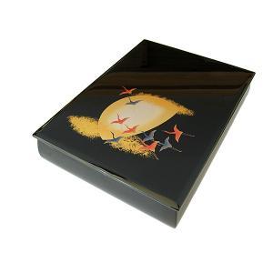 漆器 文庫 月に飛鶴 (文箱 御祝 内祝い)|sikkiya