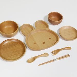 子供 食器セット 8点セット うさぎ ブナの木 キッズ ベビー 汁椀 飯椀 箸 スプーン フォーク 木製 お椀|sikkiya