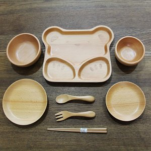 子供食器セット 8点セット くま ブナの木 キッズ 汁椀 飯椀 箸 木製 お椀|sikkiya