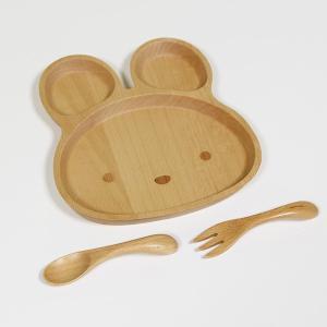 子供 食器セット うさぎ ブナの木 キッズ ベビー スプーン フォーク 皿|sikkiya