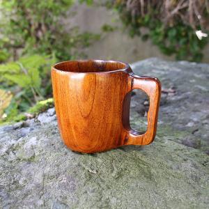 くり抜き 一体型 マグカップ 木製 コップ カップ 漆塗り くりぬき キャンプ アウトドア スープカ...