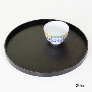 丸盆 布貼り 曙塗り (お盆 トレー 漆器 木製)|sikkiya