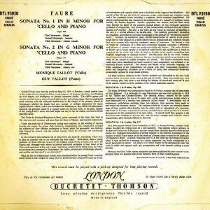 <中古LPレコード>フォーレ:チェロ・ソナタ1番Op.109,2番Op.117|silent-tone-record|02
