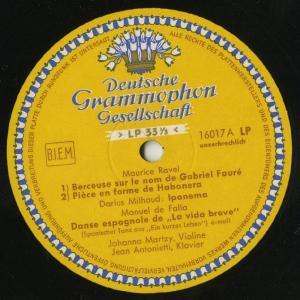 <中古LPレコード>ラヴェル:フォーレの名による子守歌,ファリャ:スペイン舞曲,シマノフスキ:夜想曲とタランテラ,ミヨー:ブラジルの郷愁〜イパネマ|silent-tone-record|02