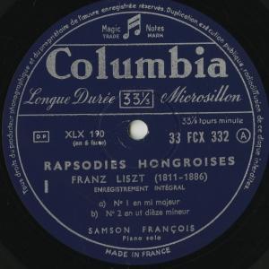 <中古クラシックLPレコード>リスト:ハンガリー狂詩曲1〜15番/S.フランソワ(pf)/仏COLUMBIA:FCX 332-4|silent-tone-record|02