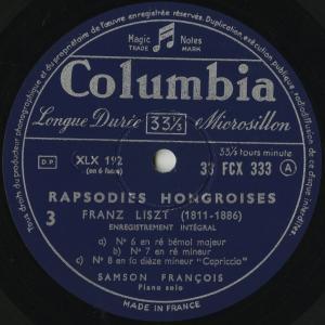<中古クラシックLPレコード>リスト:ハンガリー狂詩曲1〜15番/S.フランソワ(pf)/仏COLUMBIA:FCX 332-4|silent-tone-record|03