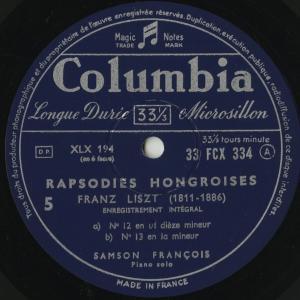 <中古クラシックLPレコード>リスト:ハンガリー狂詩曲1〜15番/S.フランソワ(pf)/仏COLUMBIA:FCX 332-4|silent-tone-record|04
