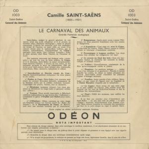 <中古クラシックLPレコード>サン・サーンス:動物の謝肉祭/E.リンデンベルク指揮R.トゥルアール(pf)H.メルケル(vn)A.ナヴァラ(Vc)|silent-tone-record|02
