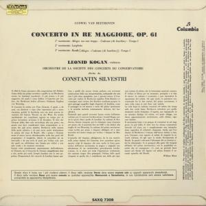 <中古クラシックLPレコード>ベートーヴェン:ヴァイオリン協奏曲Op.61/L.コーガン(vn)C.シルヴェストリ指揮パリ音楽院o./伊COLUMBIA:SAXQ 7308|silent-tone-record|02