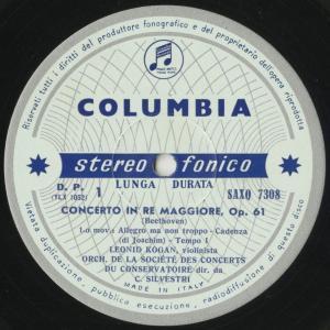 <中古クラシックLPレコード>ベートーヴェン:ヴァイオリン協奏曲Op.61/L.コーガン(vn)C.シルヴェストリ指揮パリ音楽院o./伊COLUMBIA:SAXQ 7308|silent-tone-record|03