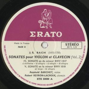 <中古クラシックLPレコード>バッハ:6つのヴァイオリン・ソナタVol.1・2/R.バルヒェット(vn)R.ヴェイロン・ラクロワ(cemb)/仏ERATO:STE 50079〜|silent-tone-record|06