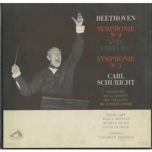 <中古クラシックLPレコード>ベートーヴェン:交響曲9番「合唱」,5番「運命」/C.シューリヒト指揮パリ音楽院o.,W.リップ(s)M.ヘフゲン(ca)他