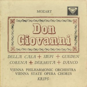 <中古クラシックLPレコード>モーツァルト:ドン・ジョヴァンニ(全曲)/J.クリップス指揮ウィーンpo. S.ダンコ,L.デラ・カーサ,H.ギューデン(s)他