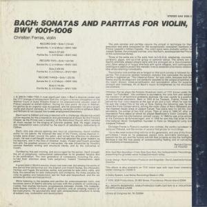 <中古クラシックLPレコード>バッハ:6つの無伴奏ヴァイオリン・ソナタBWV.1001〜1006/C.フェラス(vn)/米SINE QUA NON SUPERBA:SAS 2028 silent-tone-record 02