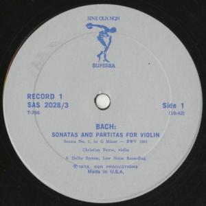 <中古クラシックLPレコード>バッハ:6つの無伴奏ヴァイオリン・ソナタBWV.1001〜1006/C.フェラス(vn)/米SINE QUA NON SUPERBA:SAS 2028 silent-tone-record 03