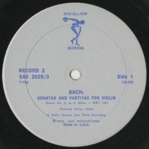 <中古クラシックLPレコード>バッハ:6つの無伴奏ヴァイオリン・ソナタBWV.1001〜1006/C.フェラス(vn)/米SINE QUA NON SUPERBA:SAS 2028 silent-tone-record 04