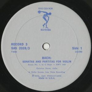 <中古クラシックLPレコード>バッハ:6つの無伴奏ヴァイオリン・ソナタBWV.1001〜1006/C.フェラス(vn)/米SINE QUA NON SUPERBA:SAS 2028 silent-tone-record 05