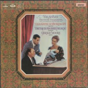 <中古クラシックLPレコード>ブラームス:ドイツ民謡集/E.シュヴァルツコプフ(s)D.フィッシャー・ディースカウ(br)G.ムーア(pf)/SAN 163-4|silent-tone-record