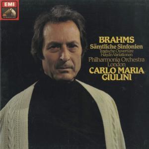 <中古クラシックLPレコード>ブラームス:交響曲全集(4曲),ハイドン変奏曲,悲劇的序曲/C.M.ジュリーニ指揮フィルハーモニアo./1C 197-53776-9|silent-tone-record