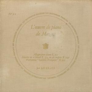 <中古クラシックLPレコード>モーツァルト:ピアノ・ソナタ13番K.333,16番K.545,アレグロK.312,12の変奏曲K.353/L.クラウス(pf)/仏DF:DF 92
