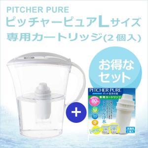 ポット型浄水器ピッチャーピュア Lサイズ 交換カートリッジ(2個入り) セット 〔送料無料〕|silicapure