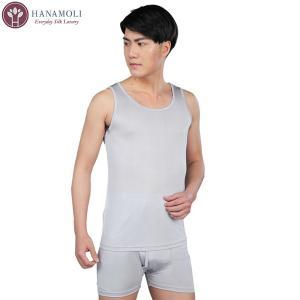 シルク メンズタンクトップ 【811】ゆったりLサイズ限定【定価から3割引】ライトグレー silk-health