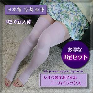 【お得な3足セット】■シルク着圧機能おやすみニーハイソックス(日本製)・・・訳あって約半額【ブラック限定】|silk-health