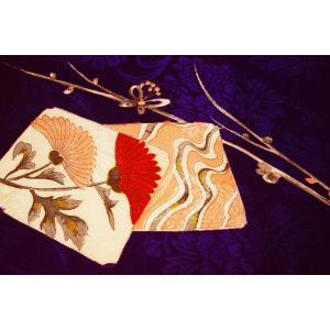 シルク 古代綸子(リンズ) 青紫系の地色に色紙、梅の文様 (シルク 正絹 和柄 和風 友禅 衣装 生地 着物 はぎれ ハギレ)  silk-honpo