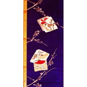 シルク 古代綸子(リンズ) 青紫系の地色に色紙、梅の文様 (シルク 正絹 和柄 和風 友禅 衣装 生地 着物 はぎれ ハギレ)  silk-honpo 02