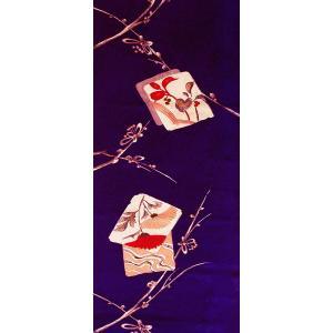 シルク 古代綸子(リンズ) 青紫系の地色に色紙、梅の文様 (シルク 正絹 和柄 和風 友禅 衣装 生地 着物 はぎれ ハギレ)  silk-honpo 03