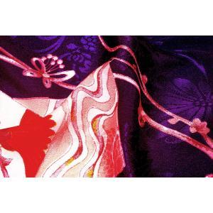 シルク 古代綸子(リンズ) 青紫系の地色に色紙、梅の文様 (シルク 正絹 和柄 和風 友禅 衣装 生地 着物 はぎれ ハギレ)  silk-honpo 04