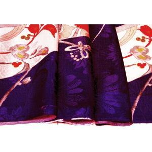 シルク 古代綸子(リンズ) 青紫系の地色に色紙、梅の文様 (シルク 正絹 和柄 和風 友禅 衣装 生地 着物 はぎれ ハギレ)  silk-honpo 05