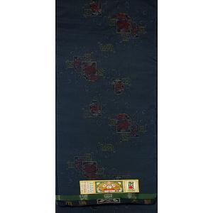 本場大島紬 青の地色に花唐草の文様 緯絣(よこかすり)(シルク 正絹 和柄 和風 友禅 衣装 生地 着物 はぎれ ハギレ)|silk-honpo