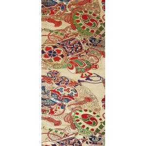 シルク 丸帯 白系の地色に鼓(つづみ)・小槌文様(シルク 正絹 和柄 和風 友禅 衣装 生地 着物 はぎれ ハギレ)|silk-honpo