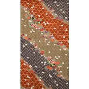 シルク 染め大島紬 レンガ・紫・ベージュの地色に花車文様を型染め (シルク 正絹 和柄 和風 友禅 衣装 生地 着物 はぎれ ハギレ)|silk-honpo