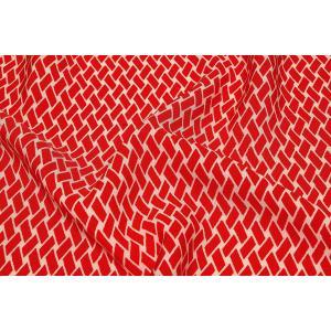 シルク 一越ちりめん 赤系の地色に網代(あじろ)文様 (シルク 正絹 和柄 和風 友禅 衣装 生地 着物 はぎれ ハギレ) silk-honpo