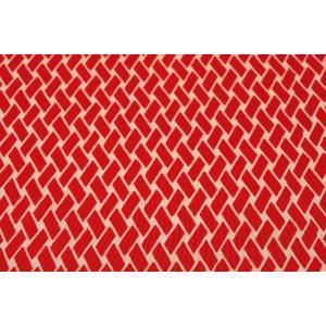 シルク 一越ちりめん 赤系の地色に網代(あじろ)文様 (シルク 正絹 和柄 和風 友禅 衣装 生地 着物 はぎれ ハギレ) silk-honpo 03